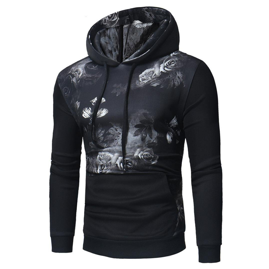 WM&MW New Men Shirt Hoodie Novelty 3D Graphic Print Hooded Sweatshirt Tops Sport Pullover Jacket (Black, Asian:M) by WM&MW