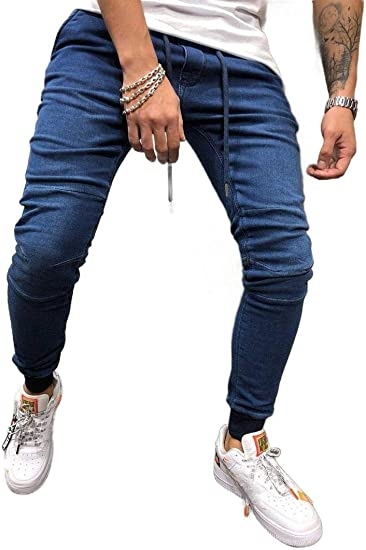Nicellyer Men Stretch Drawstring Stonewashed Skinny-Fit Relaxed Denim Pants Jeans