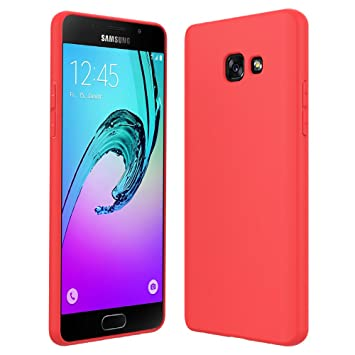 Anjoo Compatible para Funda Samsung Galaxy A5 2017, Rojo Silicona TPU Carcasa Samsung Galaxy A5 2018 Fundas de Cáscara Mate