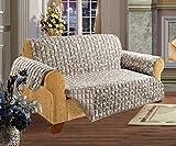 Elegant Comfort Quilted Pet Dog Children Kids Furniture Protector Slip Cover, Leaf Design Beige Sofa