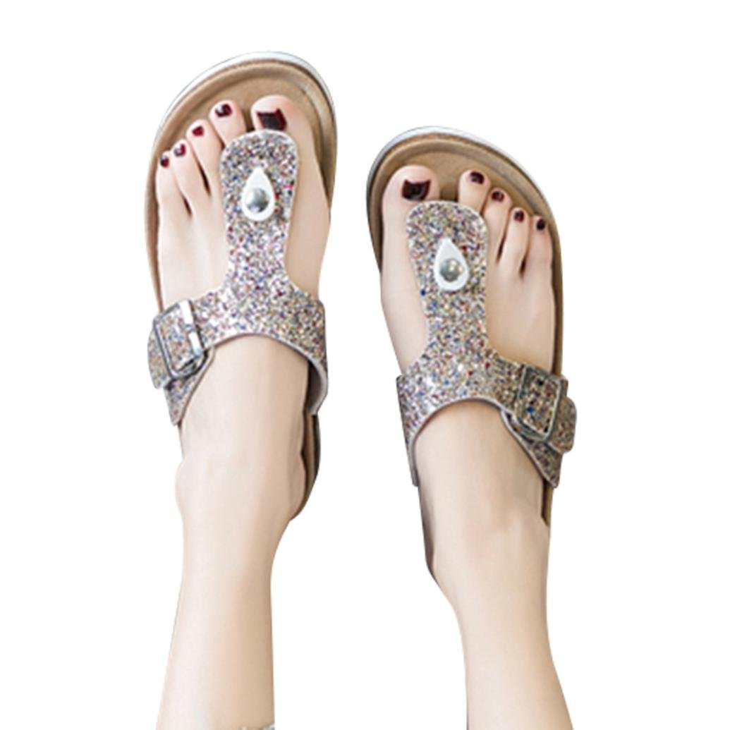 vermers Hot Sale Women's Flip Flop Sandals - Casual Buckle T Strap Thong Strap Sandals Platform Footbed(US:9, Gold) by vermers