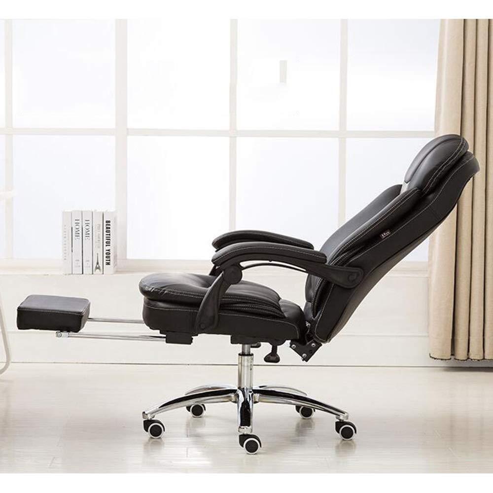 JIEER-C stol läder skrivbord spelstol med fotstöd ergonomiskt högt ryggstöd kontor dator stol svängbar spelstol bärkapacitet: 150 kg, brun svart