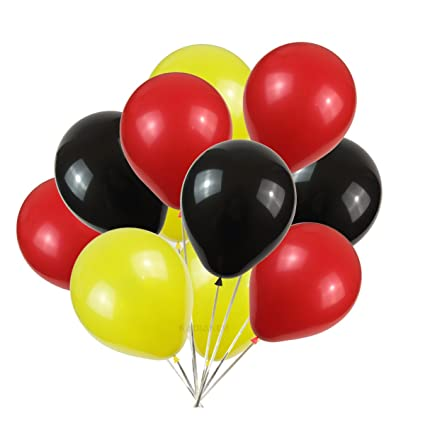 Amazon KADBANER Latex Balloons 100 Pcs 3 Colors Party Set Yellow Red Black Toys Games