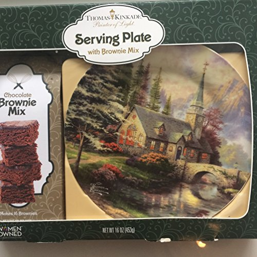 Thomas Kinkade Paiter of Light Serving Plate with Brownie Mix Gift Set