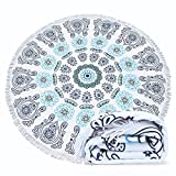 Filly Wink Round Beach Towel, Large Indian Mandala Microfiber Beach Blanket with Tassels Ultra Soft Super Water Absorbent Multi-Purpose Towel 59 inch