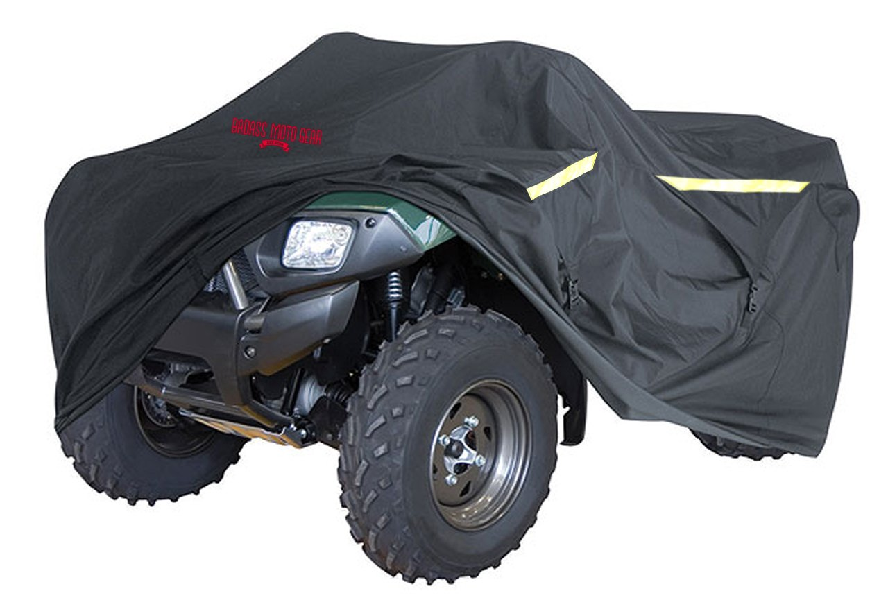 "Badass Moto Gear ATV Cover, Heavy Duty Industrial Grade, Engineered For All Weather Protection, Waterproof, Night Reflective, Zipper Tank Access From Outside, Storage Bag, Trailer Safe, SMALL 75"" Long"