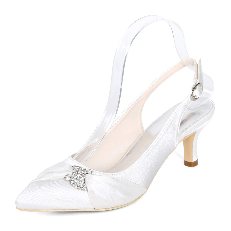 Elobaby Frauen Hochzeit Schuhe Kleid Prom Spitz Elfenbein cm Satin Blaumen High Heels (6 cm Elfenbein Ferse) eb14d8