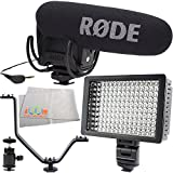 Rode VideoMic Pro with Rycote Lyre Shockmount 5PC Accessory Kit. Includes Hot Shoe Mount + Triple Hot Shoe Bracket + 160 LED Video Light + Cleaning Cloth