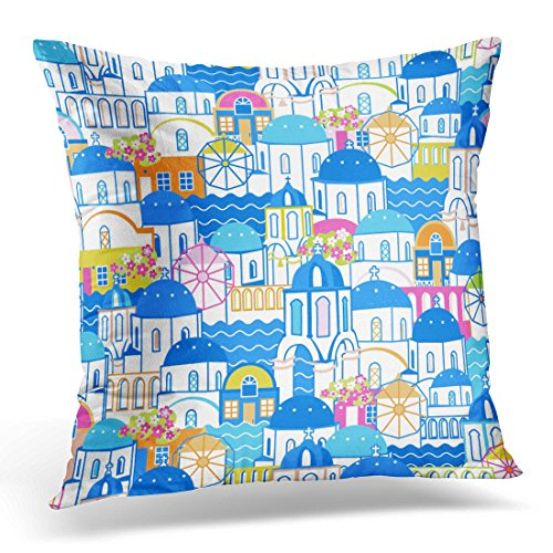 UPOOS Throw Pillow Cover Blue Aegean Santorini Cityscape Oia Village Greece Flat and Cartoon Linear Colorful Architecture Azure Decorative Pillow Case Home Decor Square 18x18 Inches Pillowcase Aegean Decorative Pillow