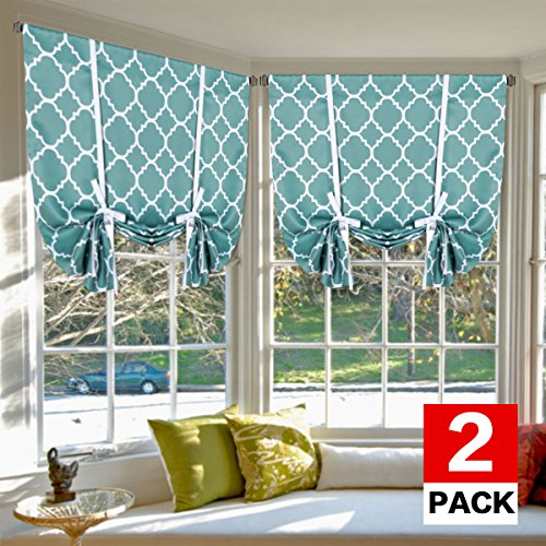 H.VERSAILTEX Blackout Curtains Balloon Shades Home Decoration Easy Care Thermal Insulated Rod Pocket 2 Panels/Drapes for Bedroom/Living Room, Set of 2, 42W x 63L, Moroccan Smoke Blue Pattern (Moroccan Bedroom)