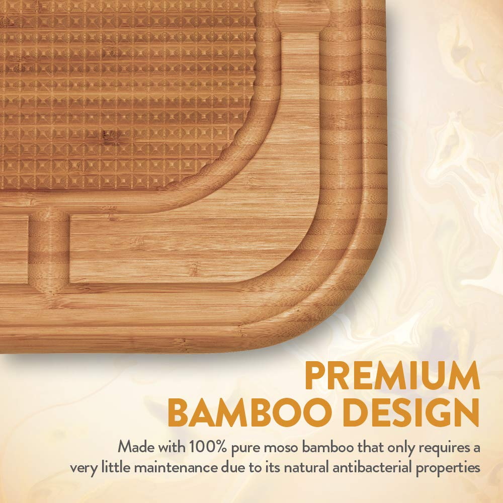 Bambusi Large Carving Cutting Board - 100% Natural Bamboo Meat Serving Tray with Deep Juice Grooves | Stabilizes Beef & Poultry While Chopping | Great Father's Day Gift Idea by Bambüsi (Image #5)