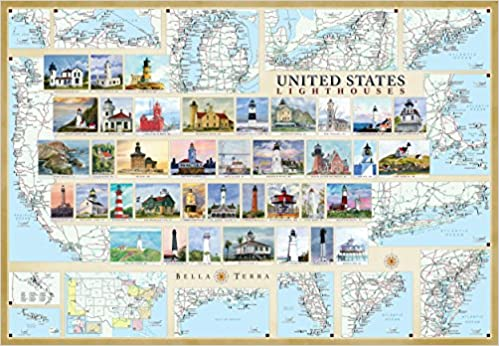 United States Lighthouses Illustrated Map Guide Laminated Poster - Us map photo collage