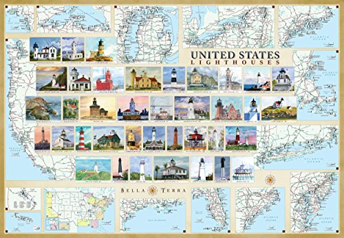 united-states-lighthouses-illustrated-map-guide-laminated-poster