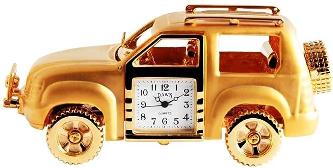 Dawn Analog Reloj en miniatura mesa Reloj Reloj de pie con mecanismo de cuarzo y diseño SUV todoterreno Safari 300402000025 Oro Coloreado Chasis: Amazon.es: ...