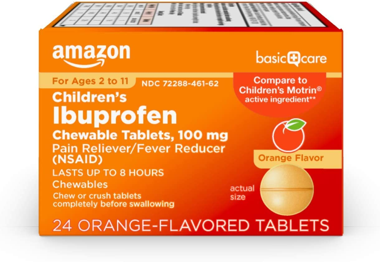 Basic Care Children's Ibuprofen Chewable Tablets, 100 mg, Pain Reliever and Fever Reducer (NSAID), 24 Count: Health & Personal Care