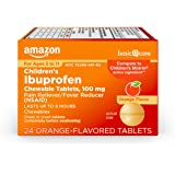 Amazon Basic Care Children's Ibuprofen Chewable Tablets, 100 mg, Pain Reliever and Fever Reducer (NSAID), 24 Count