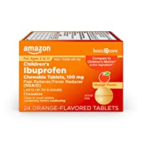 Basic Care Children's Ibuprofen Chewable Tablets, 100 mg, Pain Reliever and Fever Reducer (NSAID), 24 Count