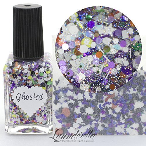 Lynnderella Halloween Multi Glitter Nail Polish—Ghosted (Halloween Pedicure Art)