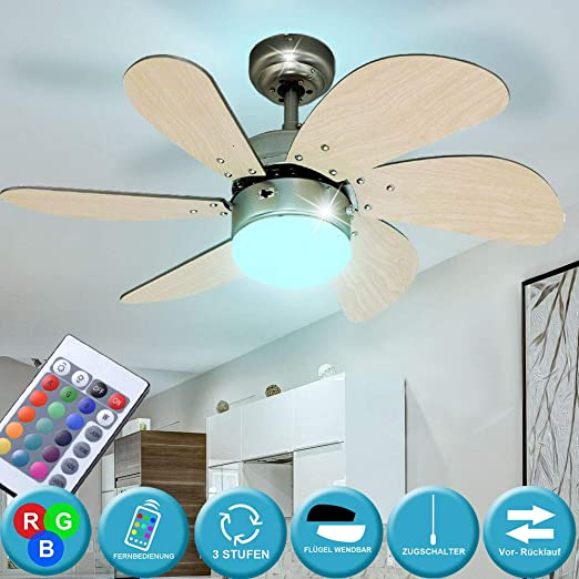 RGB LED Decken Ventilator buche FERNBEDIENUNG Glas Lüfter Kühler Lampe dimmbar