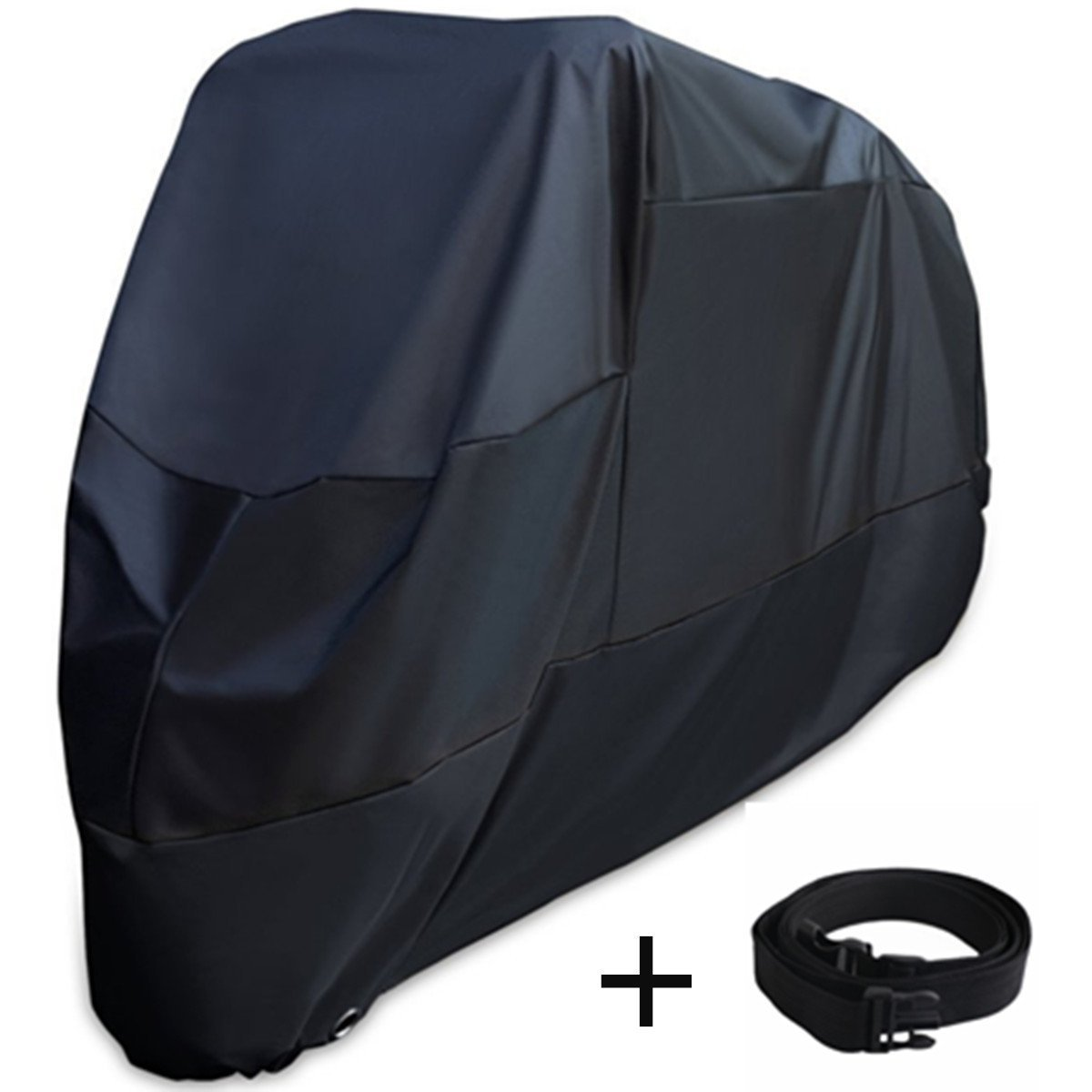 XYZCTEM Motorcycle Cover -Waterproof Outdoor Storage Bag,Made of Heavy Duty Oxford Material Fits up to 116 inch Harley Davison and All motors(Black& Lockholes& Professional Windproof Strap)