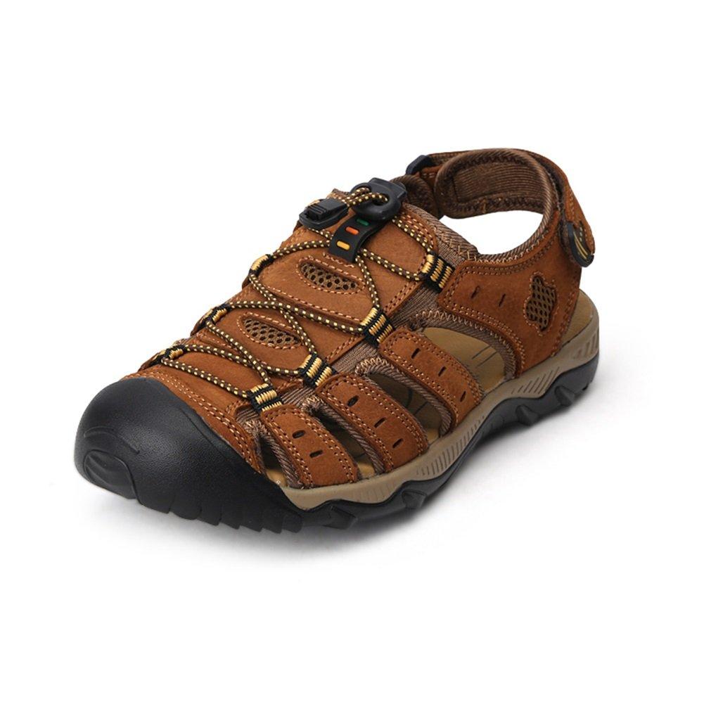 HUAN Herrenschuhe Leder Sommer Leichte Sohlen Sandalen Upstream Dunkelbraun Schuhe für Casual Outdoor Dunkelbraun Upstream C a27576