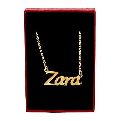 Kigu Zara - Collar Chapado en Oro de 18 Quilates con Nombre Personalizado, Cadena Ajustable de 40,64 cm - Paquete de 48,26 cm: Amazon.es: Joyería