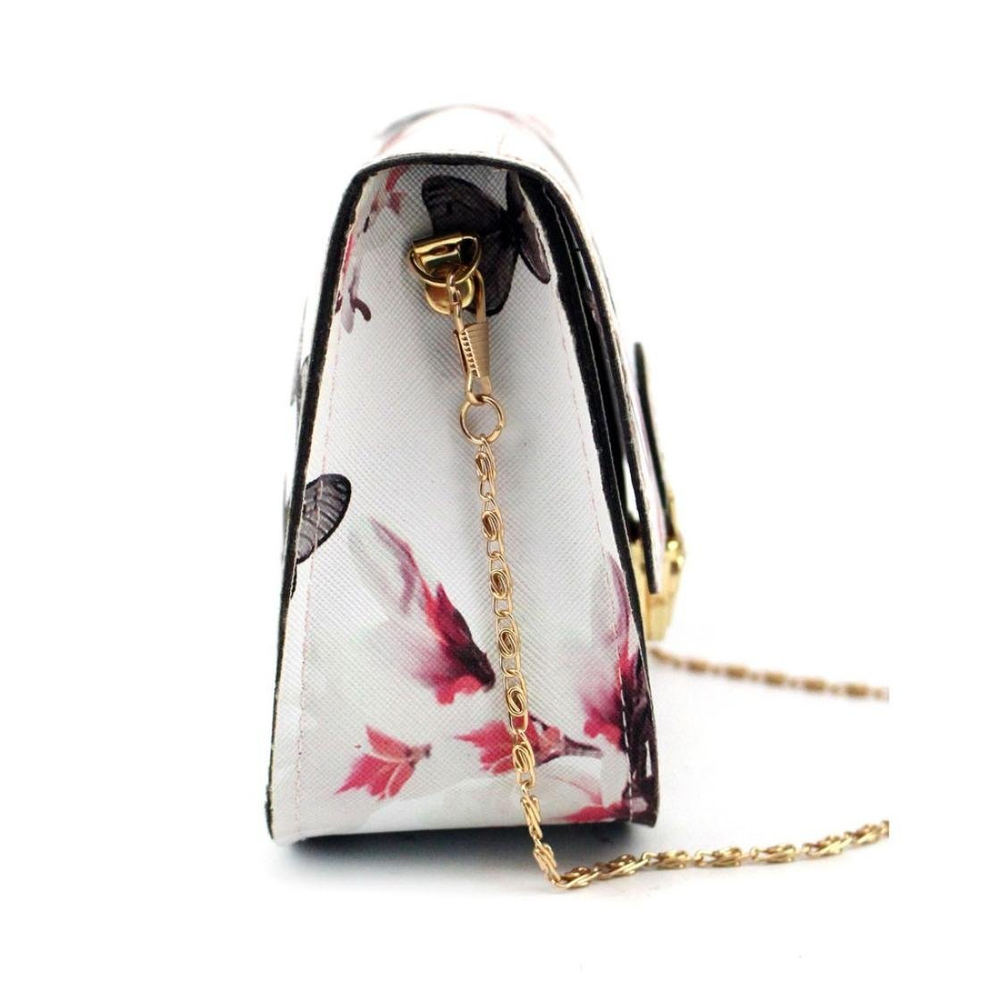 Outsta Butterfly Flower Printing Handbag,Women Shoulder Bag Tote Messenger Bag Phone Bag Coin Bag Travel Backpack Bucket Bag Classic Basic Casual Daypack Travel (White) by Outsta (Image #4)
