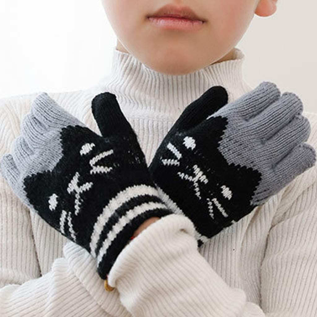 qingqingR Guanti da Sci Invernali in Lana Sintetica per Bambini in Finta Lana per Bambini