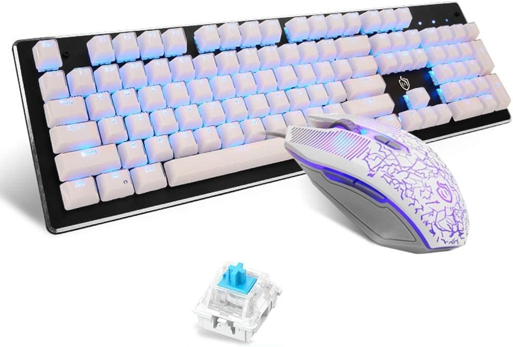 Game Mechanical Mouse Lflzcp Keyboard,Ice Crystal Keycap Blue Switch Mechanical Keyboard Mouse Set Classic Keycap Monochrome Light Color : White