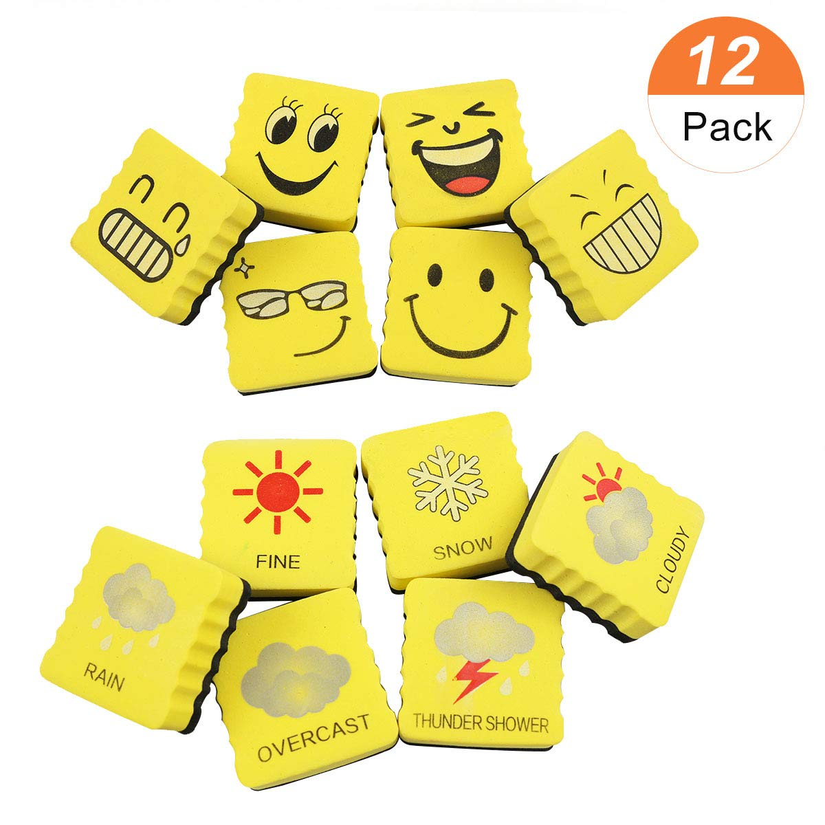 Zhidian 12 Pack Magnetic Smiley Face Whiteboarddry Erase Board Erasersmall Cube Whiteboardchalkboard Cleaners For School Classroom Home Office