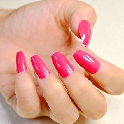 Brillantes uñas postizas de coffin rojas rosas y acrílicas para uñas de bailarina simple y dáidly