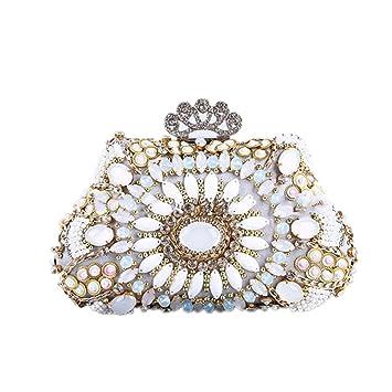 AUMING Cartera de Mano Elegante para Mujer Bolso de Noche clásico del Embrague cristalino del Rhinestone de Las Mujeres con la Correa de Cadena ...