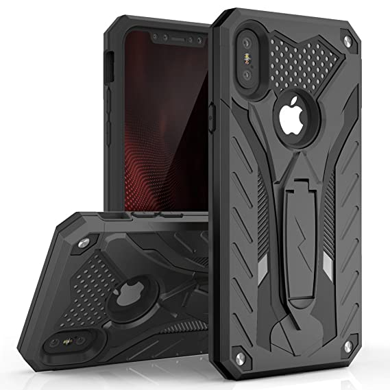 low cost 1c9d2 7a554 Zizo Static Series Compatible with iPhone X case with Kickstand Military  Grade Drop Tested Impact Resistant Heavy Duty Case iPhone Xs Black Black