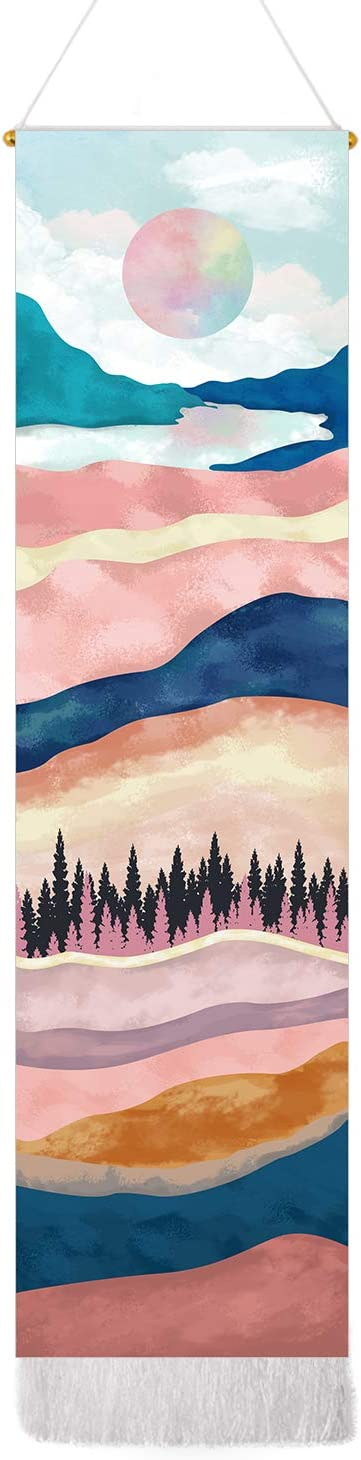 Mountain Tapestry Sunset Tapestries Forest Tree Tapestry Wall Hanging Nature Landscape Tapestry for Room (Pink, 12.8 x 51.2 inches)