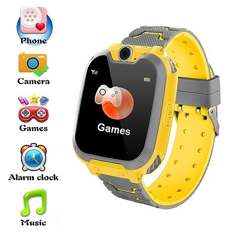 Hangang Reloj Inteligente para Niños Niña La Musica y 7 Juegos Smart Watch Phone 2 Vías Llamada Despertador de Cámara para Reloj Niño y Niña 3-12 ...