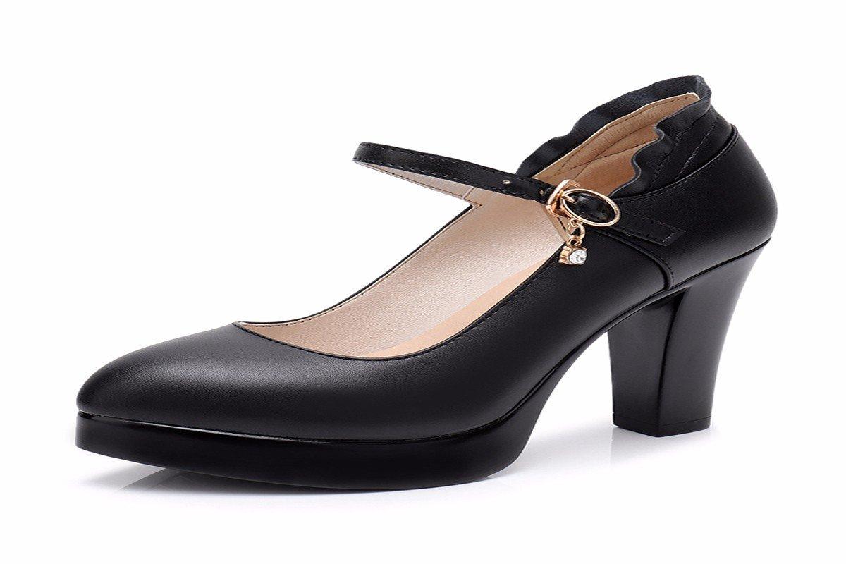 HBDLH-Damenschuhe Im Schwarzen Cheongsam Zeigt 18Cm Hohe Schuhe Leder-Modell Schuhe Wasserdichte Tabelle mit Dicken Sohle Haben Schuhe Schuhe.