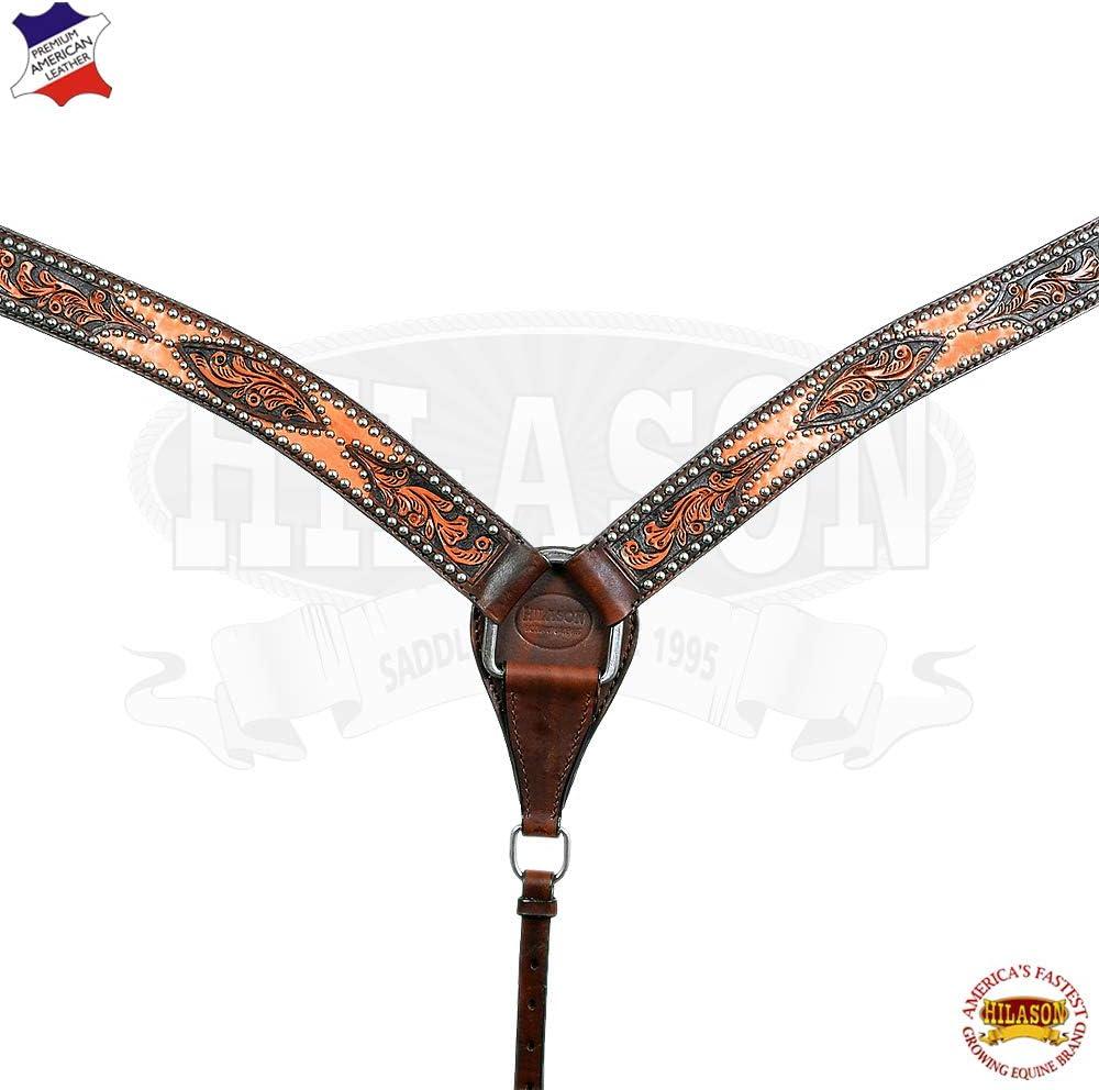 Hilason Western American Leather Horse Breastcollar Dual Tone