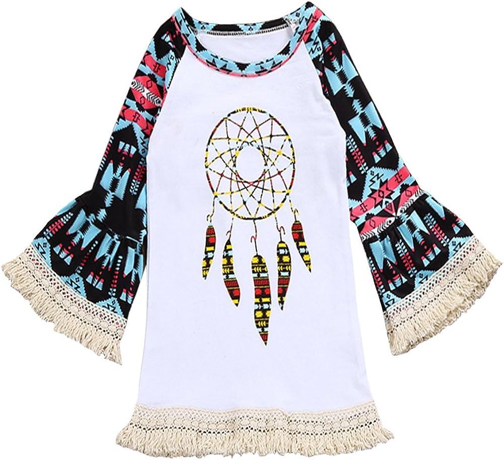 OUTGLE 2-7T Toddler Girl Dream Catchers Print Tassel One Piece Princess Summer Dress