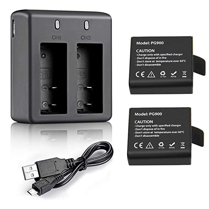 VVHOOY 2x900mah Rechargeable Action Camera Battery and Charger Compatible with YI Discovery/AKASO EK7000/Brave 4/Campark ACT74 ACT76/Crosstour/APEMAN ...