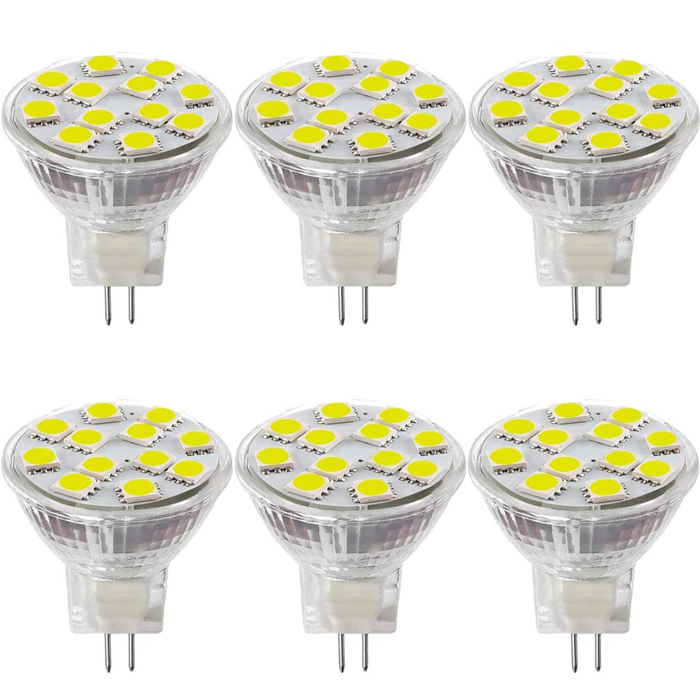 LXcom MR11 LED Bulb 6 Pack 2W Flood Light Bulbs GU4 Bi-Pin Base Bulb 20W Halogen Replacement AC 12V Daylight White 6000K for Landscape Accent Track Lights