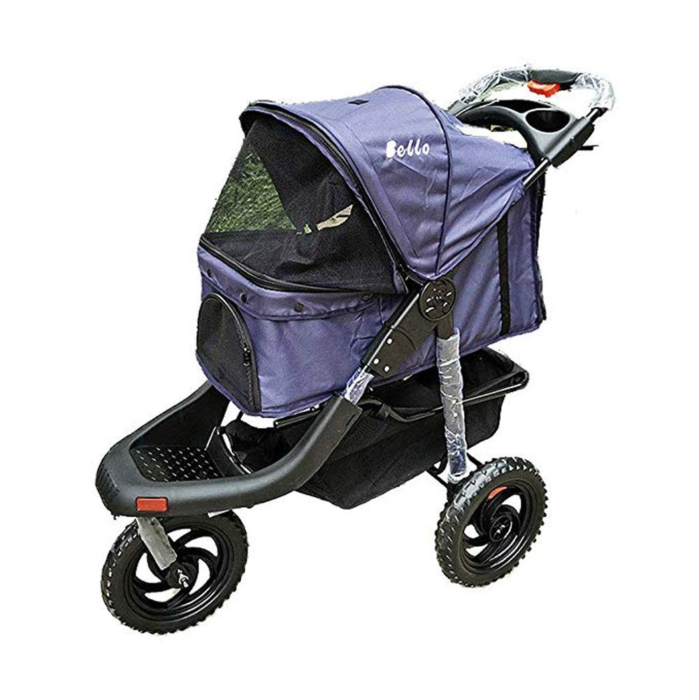 Purple TYT Pet Stroller Dog cat Stroller Multi-function Large Folding Three-wheel Four-wheel Rainproof Animal Carriage Big Wheel Pet Sports Car Rambler (color   Purple)