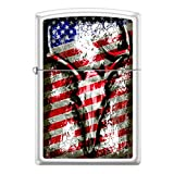 American Flag Deer Skull Antler Chrome Finish Custom Zippo Windproof Collectible Lighter. Made in USA Limited Edition & Rare