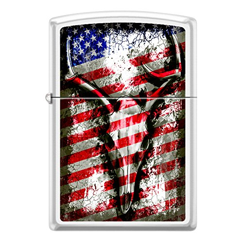 American Flag Deer Skull Antler Chrome Finish Custom Zippo Windproof Collectible Lighter. Made in USA Limited Edition & -
