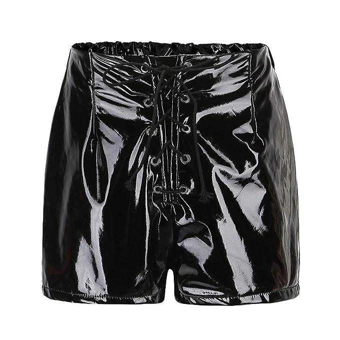 sito affidabile c1b85 28403 ZYUEER Pantaloni da Donna Sexy A Vita Alta in Pelle con ...