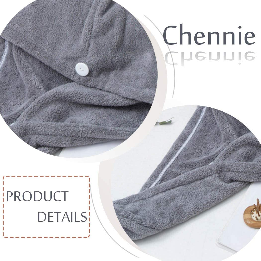 Chennie Microfiber Hair Towel Wrap with Button Grey Hair Drying Towels Super Absorbent Magic Hair Dry Hat Cap Twist Head Towel for Women and Girls Long & Curly Hair (Pack of 2): Home & Kitchen