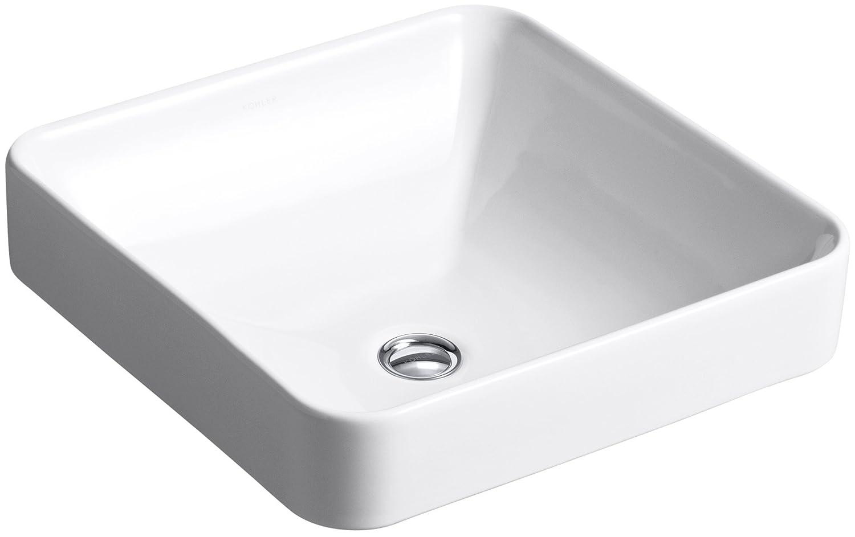 KOHLER K-2661-0 Vox Square Vessel Bathroom Sink, White