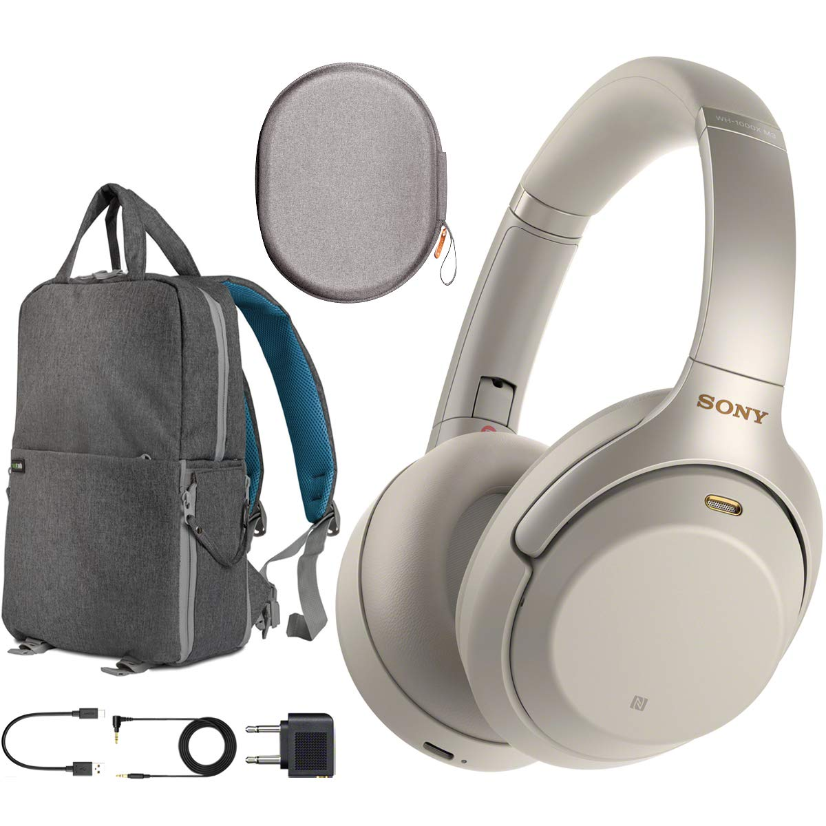Sony WH1000XM3 Premium Noise Cancelling Wireless Bluetooth Headphones with Built in Microphone WH-1000XM3/S Silver Commuter's Bundle with Deco Gear Travel Backpack with Gadget Compartment & USB Port