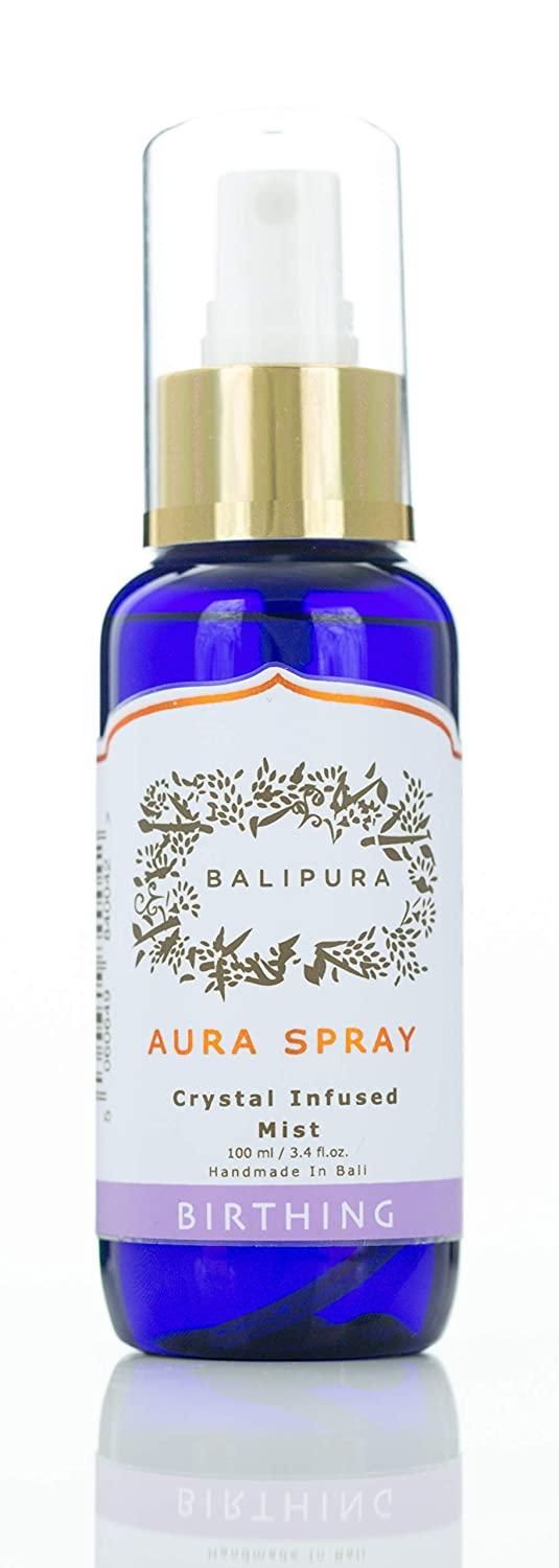 "BALIPURA Healing Crystal Aura Blends for Creativity. Lavender, Vanilla & Jasmine Organic Essential Oils. Amethyst, Rose Quartz, Moonstone, Malachite & Carnelian. ""Birthing"" Aura Mist, 100ml/3.4fl.oz."