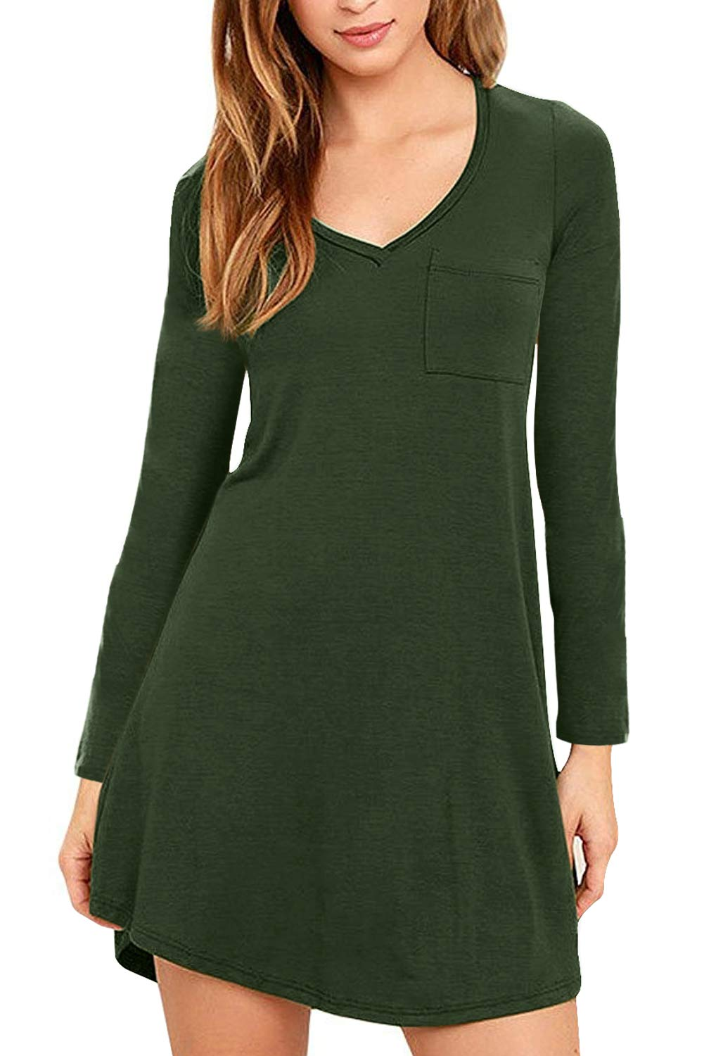 Eanklosco Womens Casual Short Sleeve Plain Pocket V Neck T Shirt Tunic Dress (Green-1, M)