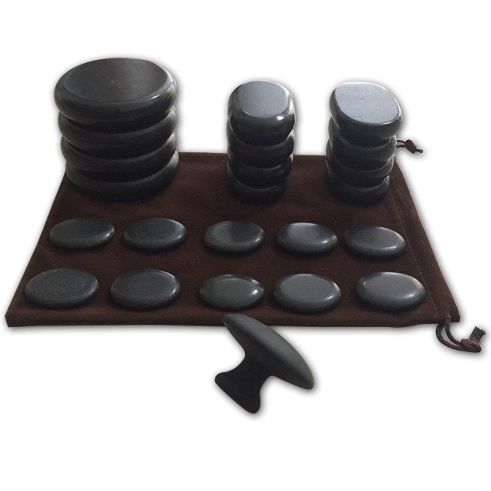 Massage Hot Stones with Mushroom Shaped Massage Guasha Tool, 23 pcs in Total, Hot Stone Massage Kit, Hot Stone Massage Warmer,Basalt Hot Stone for Spa, Massage Therapy, Storage Velvet Bag Included Bestnewie